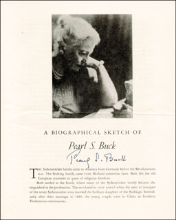 Autographs: PEARL S. BUCK - BIOGRAPHY SIGNED