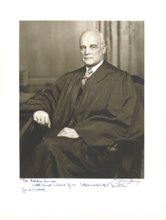 ASSOCIATE JUSTICE HAROLD H. BURTON - AUTOGRAPHED INSCRIBED PHOTOGRAPH 06/17/1949