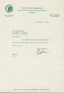 MAJOR GENERAL FRANK D. MERRILL - TYPED LETTER SIGNED 01/11/1955