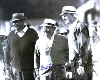 SAM SLAMMING SAMMY SNEAD - AUTOGRAPHED SIGNED PHOTOGRAPH 1992 CO-SIGNED BY: GENE SARAZEN, BYRON NELSON