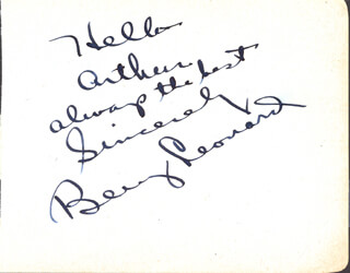 BENNY THE GHETTO WIZARD LEONARD - AUTOGRAPH NOTE SIGNED