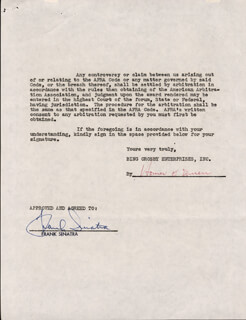 FRANK SINATRA - CONTRACT SIGNED 03/05/1954