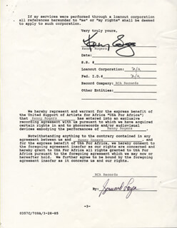 KENNY ROGERS - CONTRACT SIGNED 01/28/1985