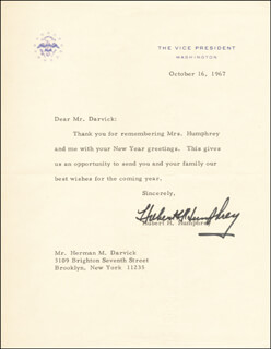VICE PRESIDENT HUBERT H. HUMPHREY - TYPED LETTER SIGNED 10/16/1967