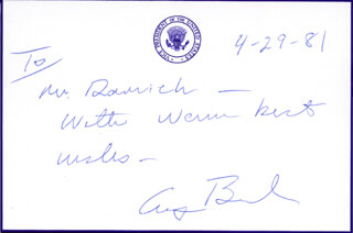 Autographs: PRESIDENT GEORGE H.W. BUSH - AUTOGRAPH NOTE SIGNED 04/29/1981