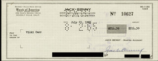 JACK BENNY - AUTOGRAPHED SIGNED CHECK 07/29/1965 CO-SIGNED BY: VIKKI CARR