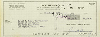 JACK BENNY - AUTOGRAPHED SIGNED CHECK 12/02/1964