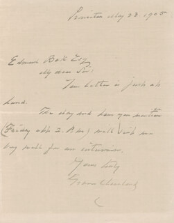 Autographs: PRESIDENT GROVER CLEVELAND - AUTOGRAPH LETTER SIGNED 05/23/1905