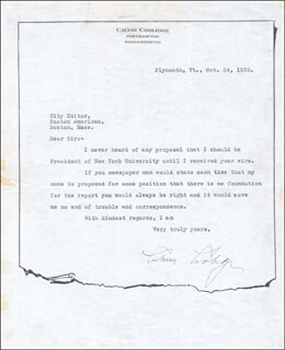 Autographs: PRESIDENT CALVIN COOLIDGE - TYPED LETTER SIGNED 10/24/1932