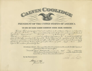 Autographs: PRESIDENT CALVIN COOLIDGE - CIVIL APPOINTMENT SIGNED 05/19/1926 CO-SIGNED BY: HARRY S. NEW
