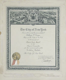 Autographs: MAYOR WILLIAM O'DWYER - CIVIL APPOINTMENT SIGNED 01/01/1948