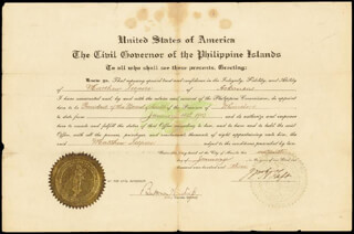 Autographs: PRESIDENT WILLIAM H. TAFT - CIVIL APPOINTMENT SIGNED 01/16/1903 CO-SIGNED BY: BEEKMAN WINTHROP