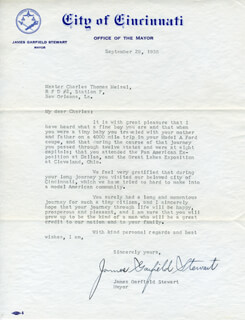 JAMES GARFIELD STEWART - TYPED LETTER SIGNED 09/29/1938