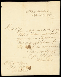 Autographs: BENJAMIN W. CROWNINSHIELD - MANUSCRIPT DOCUMENT SIGNED 04/01/1815
