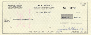JACK BENNY - AUTOGRAPHED SIGNED CHECK 06/13/1967