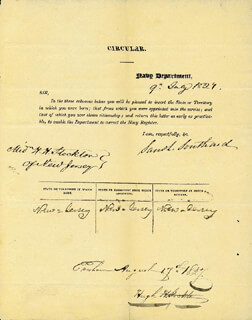 Autographs: SAMUEL L. SOUTHARD - DOCUMENT SIGNED 07/09/1827 CO-SIGNED BY: HUGH H. STOCKTON
