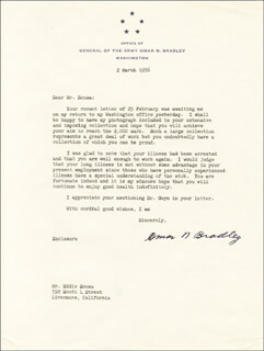 Autographs: GENERAL OMAR N. BRADLEY - TYPED LETTER SIGNED 03/02/1956