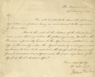 Autographs: JAMES BARBOUR - MANUSCRIPT DOCUMENT SIGNED 01/23/1826