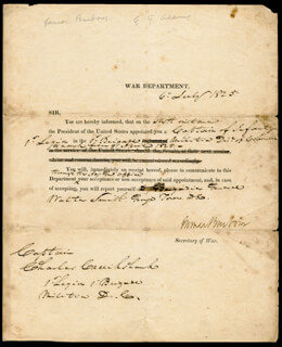 Autographs: JAMES BARBOUR - MILITARY APPOINTMENT SIGNED 07/06/1825