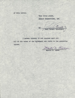 DESI ARNAZ SR. - CONTRACT SIGNED 12/15/1957 CO-SIGNED BY: MARTIN N. LEEDS
