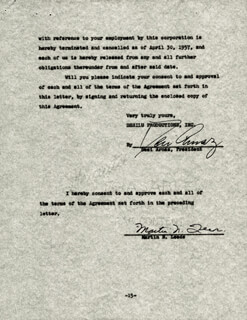 DESI ARNAZ SR. - CONTRACT SIGNED 05/01/1957 CO-SIGNED BY: MARTIN N. LEEDS