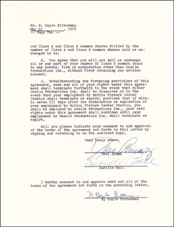 Autographs: LUCILLE LUCY BALL - CONTRACT SIGNED 05/22/1958 CO-SIGNED BY: DESI ARNAZ SR.