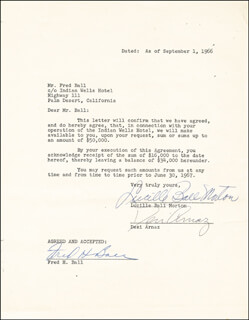 LUCILLE LUCY BALL - CONTRACT SIGNED 09/01/1966 CO-SIGNED BY: DESI ARNAZ SR.