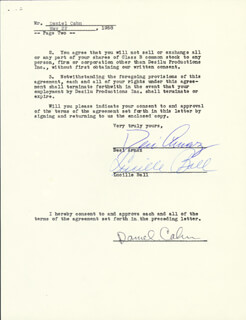 LUCILLE LUCY BALL - CONTRACT SIGNED 05/22/1958 CO-SIGNED BY: DESI ARNAZ SR., DANIEL CAHN
