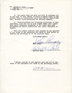 Autographs: LUCILLE LUCY BALL - DOCUMENT SIGNED 05/22/1958 CO-SIGNED BY: DESI ARNAZ SR.