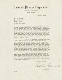 CARL LAEMMLE SR. - TYPED LETTER SIGNED 03/09/1928
