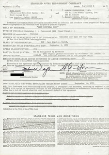 JOHN DUKE WAYNE - CONTRACT SIGNED 09/02/1971