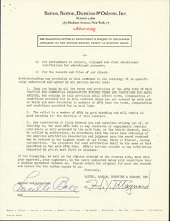 Autographs: LUCILLE LUCY BALL - CONTRACT SIGNED 06/11/1948 CO-SIGNED BY: H. Y. MAYNARD