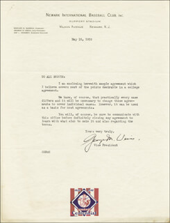 GEORGE M. WEISS - TYPED LETTER SIGNED 05/15/1939