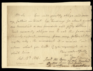 Autographs: WILLIAM J. DUANE - AUTOGRAPH LETTER SIGNED 02/18/1804 CO-SIGNED BY: ROBERT KEAN