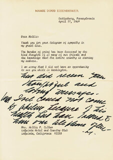 FIRST LADY MAMIE DOUD EISENHOWER - TYPED LETTER SIGNED 04/17/1969