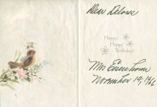 Autographs: FIRST LADY MAMIE DOUD EISENHOWER - GREETING CARD SIGNED 11/14/1966