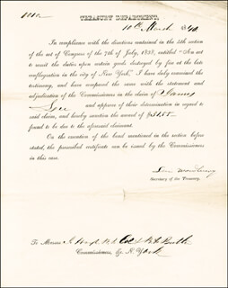 Autographs: ASSOCIATE JUSTICE LEVI WOODBURY - PRINTED DOCUMENT SIGNED IN INK 03/10/1840