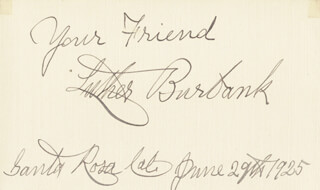 LUTHER BURBANK - AUTOGRAPH SENTIMENT SIGNED 06/29/1925
