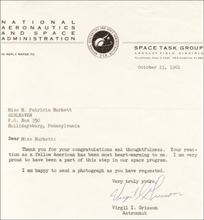 Autographs: LT. COLONEL VIRGIL I. GUS GRISSOM - TYPED LETTER SIGNED 10/13/1961