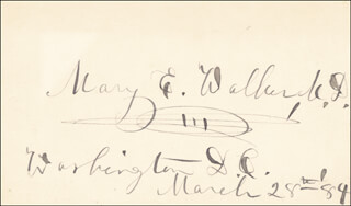 DR. MARY EDWARDS WALKER - AUTOGRAPH 03/28/1884