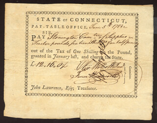 Autographs: OLIVER WOLCOTT JR. - PROMISSORY NOTE SIGNED 06/05/1783 CO-SIGNED BY: FENN WADSWORTH, HEZEKIAH ROGERS
