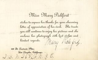 MARY PICKFORD - PRINTED CARD SIGNED IN INK