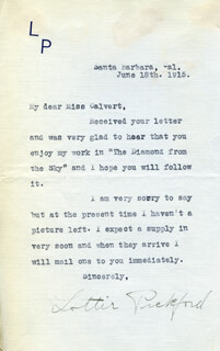 LOTTIE PICKFORD - TYPED LETTER SIGNED 06/18/1915