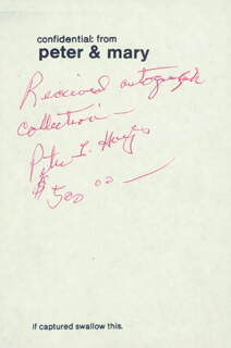 PETER LIND HAYES - AUTOGRAPH RECEIPT SIGNED