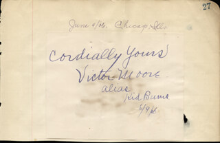 VICTOR MOORE - AUTOGRAPH SENTIMENT SIGNED 06/09/1906