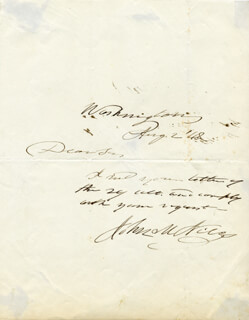 JOHN M. NILES - AUTOGRAPH NOTE SIGNED 08/02/1848