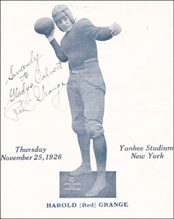 RED GRANGE - MAGAZINE PHOTOGRAPH SIGNED CIRCA 1926