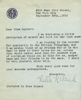 RUTH ROLAND - TYPED LETTER SIGNED 09/24/1914