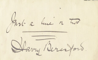 HARRY BERESFORD - AUTOGRAPH SENTIMENT SIGNED