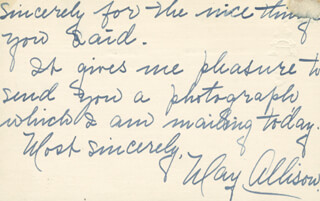 MAY ALLISON - AUTOGRAPH LETTER SIGNED